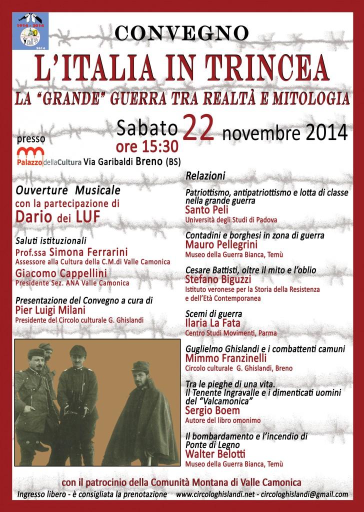 locandina convegno l'Italia in trincea_22 novembre 2014_sito