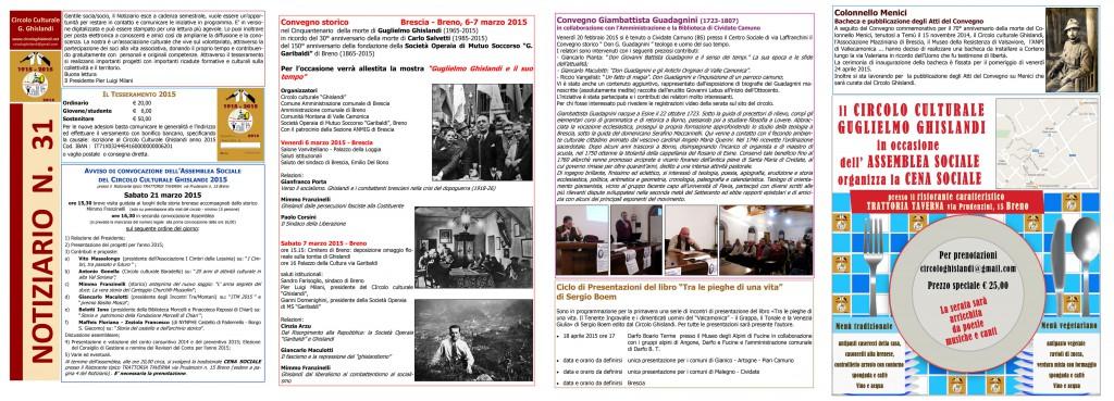 notiziario n. 33  Circolo Ghislandi anno 2015 primavera_web