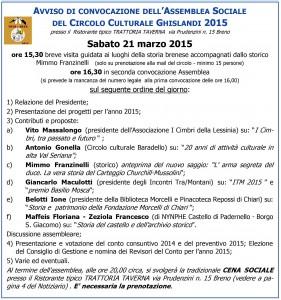 avviso convocazione assemblea sociale circolo ghislandi 21 marzo 2015