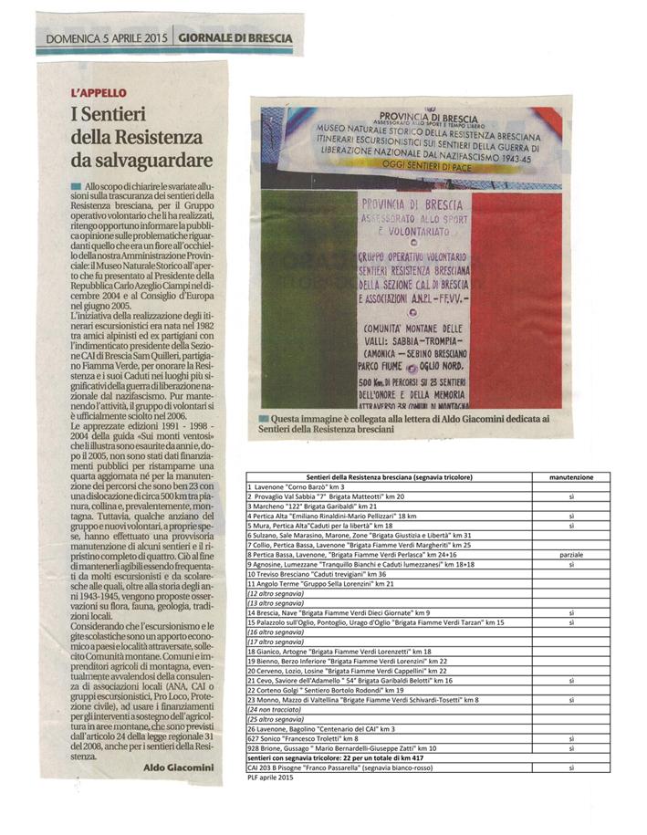 sentieri della resistenza bresciana _Giornale Brescia 5_4_2015