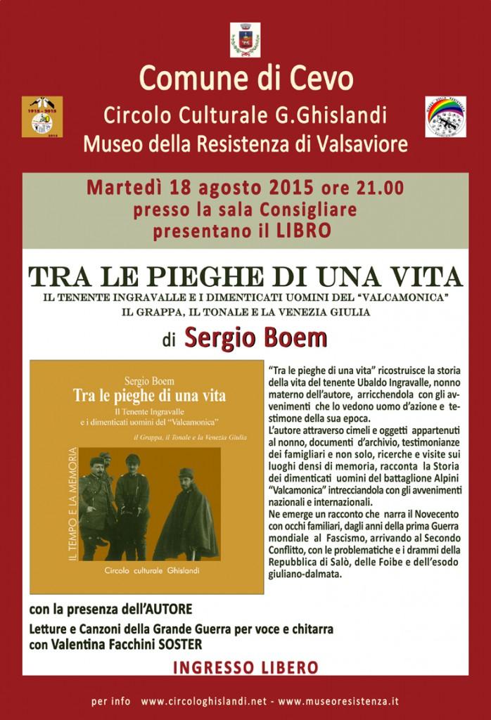 locandina  presentazione libraria 18 agosto Valsaviore_tra le pieghe di una vita di Sergio Boem_web