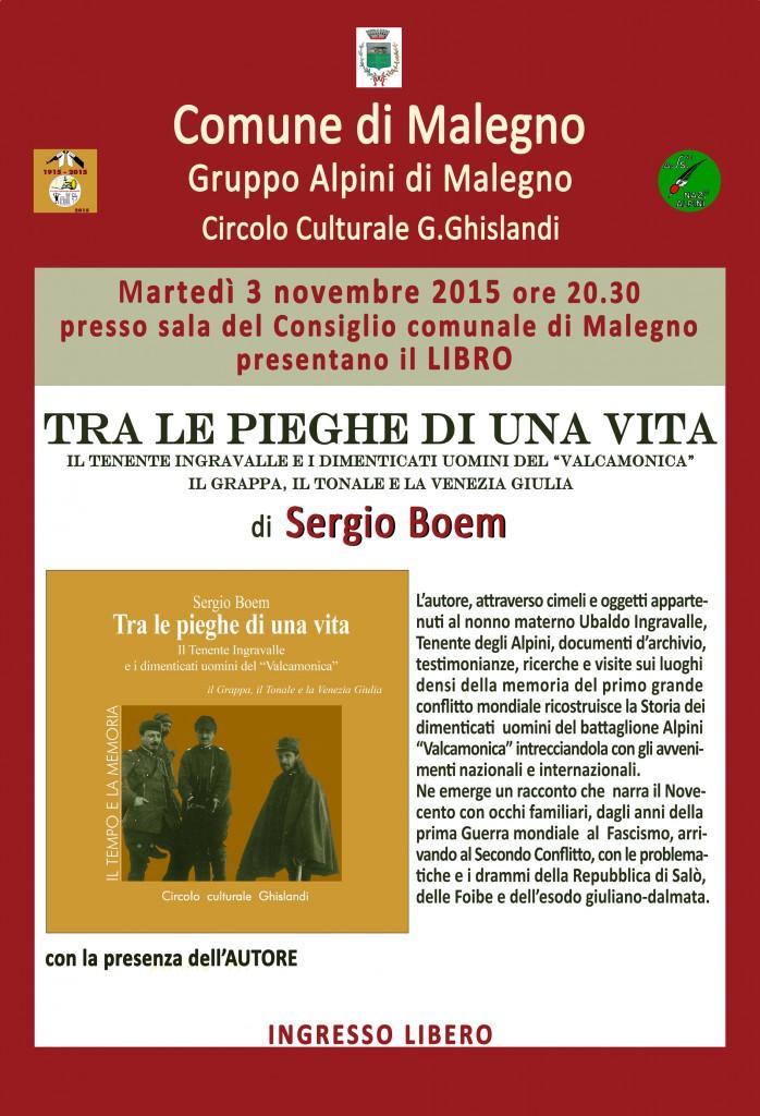 locandina presentazione libraria 3 novembre Malegno_tra le pieghe di una vita_Sergio Boem