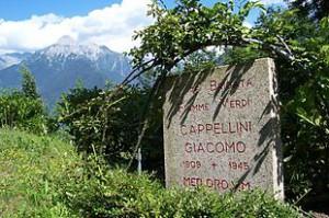 Lapide commemorativa presso Cerveno Val Camonica